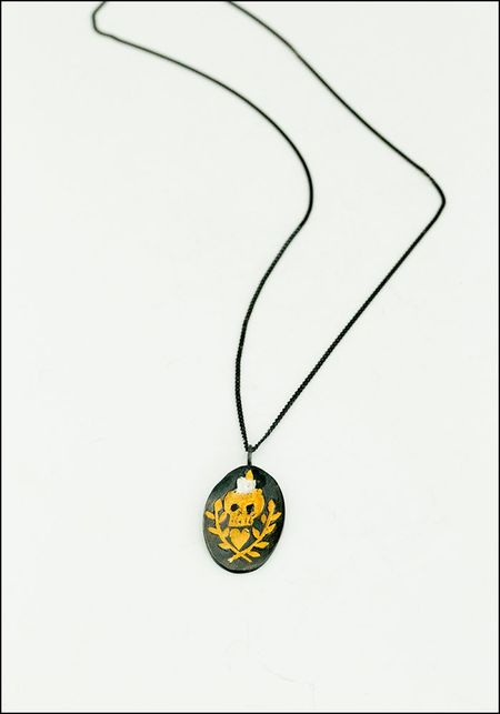 Acanthus Skull and Branch Signet Pendant
