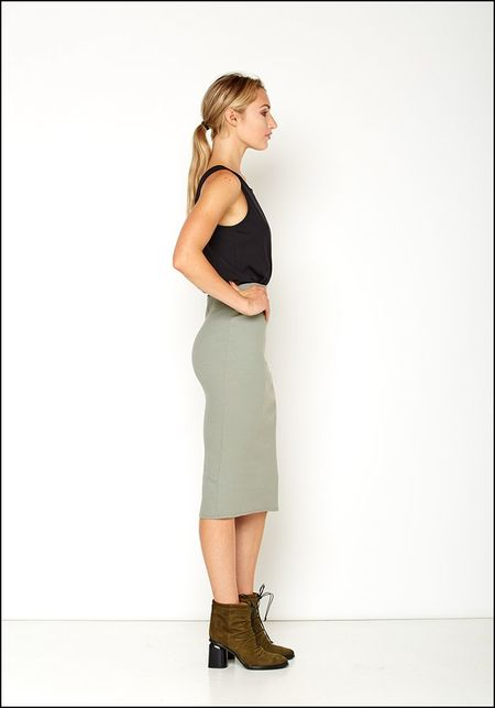 Serie Numerica S°N Ribbed Jersey Fitted Pencil Skirt - STONE