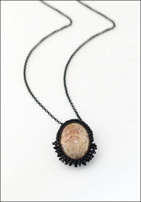 Jacki Holland Agatized Fossilized Coral Necklace