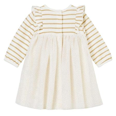 KIDS Petit Bateau Baby Long Sleeved Dress With Tulle Skirt - White/Gold Stripes