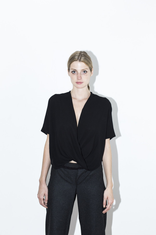 Assembly New York Black Rayon Twist Top