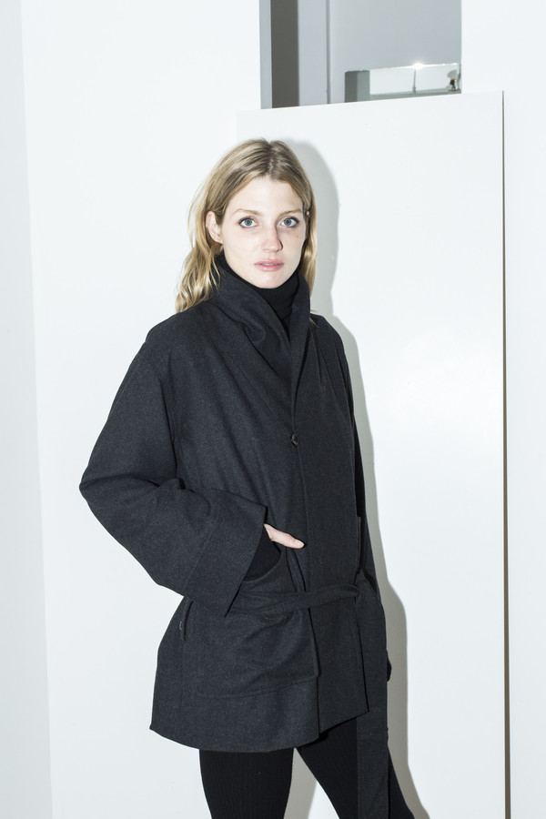 Assembly New York Grey Cropped Robe Coat