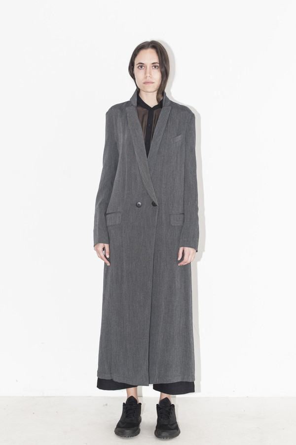 Assembly New York Grey Gauze Long Coat