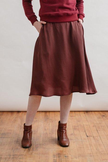 Bridge & Burn Crepe Cara Skirt - Burgundy