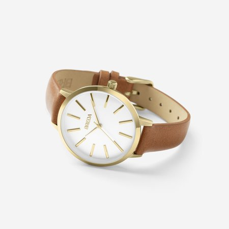 Breda Joule Watch - Gold/Brown