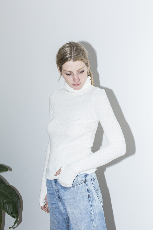 Assembly New York Off White T Neck Top