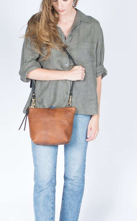 Eleven Thirty Shop Croc Embossed Melissa Mini Shoulder Bag - Bronze