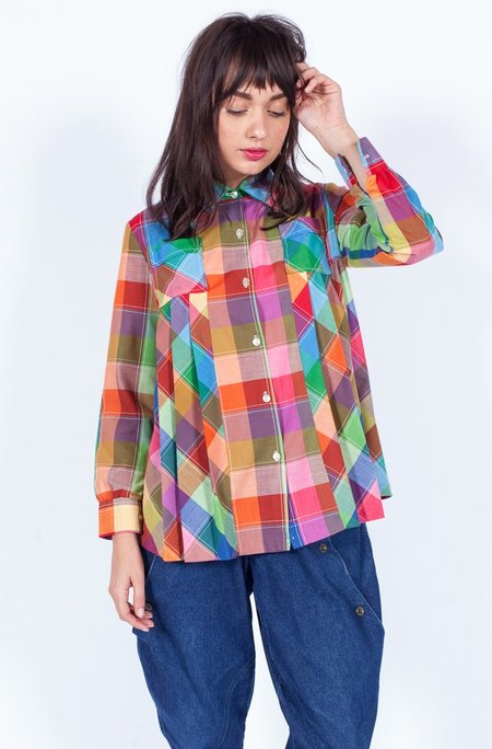 Yo Vintage! Cotton Blouse - Plaid