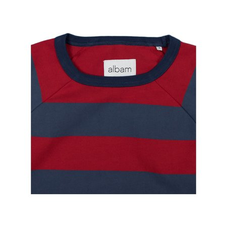 Albam Raglan Striped Sweatshirt - Red/Navy