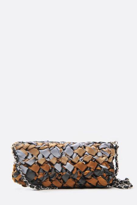 Lorenza Gandaglia Ribbon Clutch with Chain Strap - Brown Tones