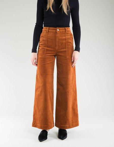 Ganni Stretch Corduroy Wide Pants - Caramel Cafe
