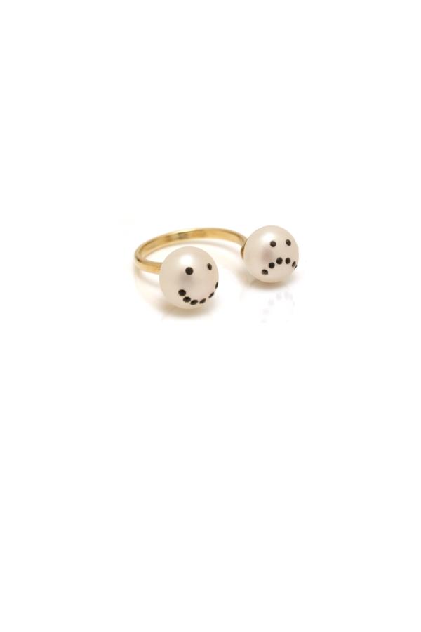 Nektar de Stagni Drama Pave Double Pearl Ring