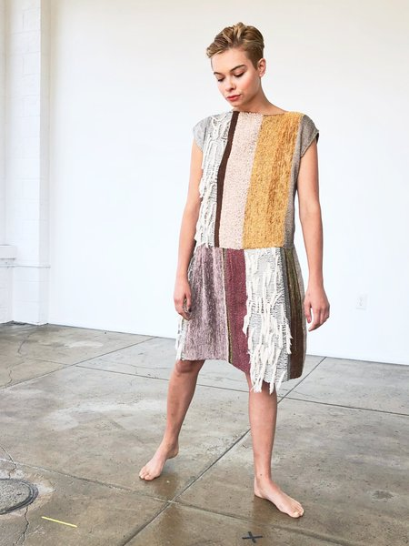 AsA Two Tier Fringe Dress - Colorblock