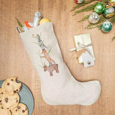 Kids Coral and Tusk Embroidered Large Tree Stocking