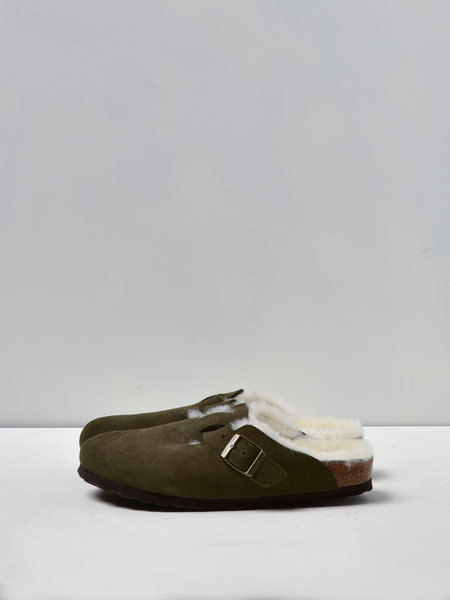 Birkenstock BOSTON SHEARLING clog - FOREST/NATURAL
