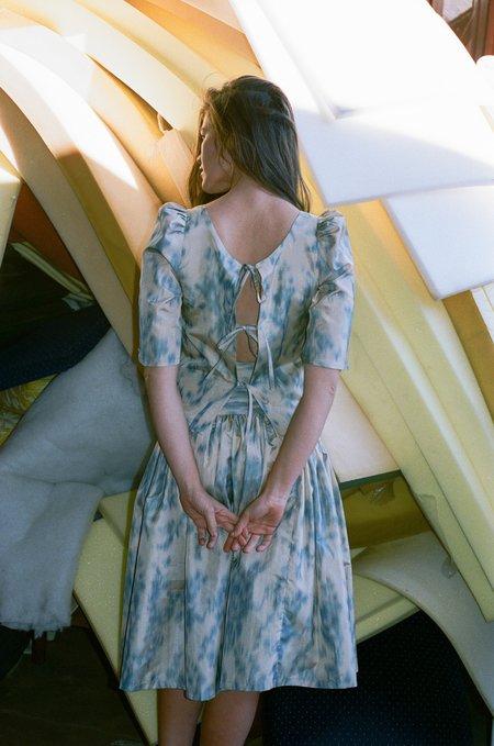 Chelsea Mak Puff Sleeve Top - Beige Ikat Print