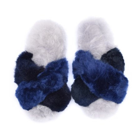 Ariana Bohling Criss Cross Alpaca Slipper - Blue/Navy/Grey