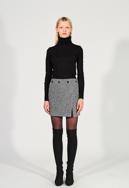 CHAENEWYORK Signature Eyelet Mini Skirt - Blue