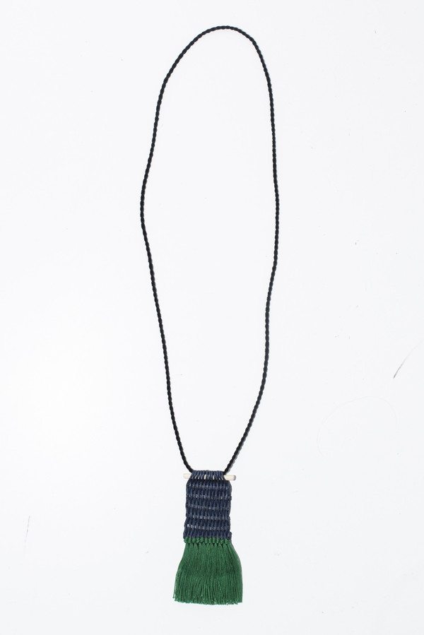 Ora-C Fringe Woven Pendant Necklace
