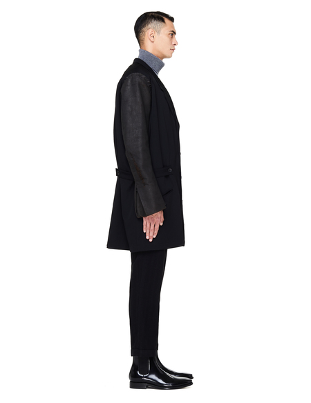 Yohji Yamamoto Wool Coat With Leather Sleeves - Black