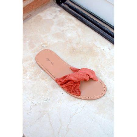 Maslin & Co Pleate Sandal Slides - Rust