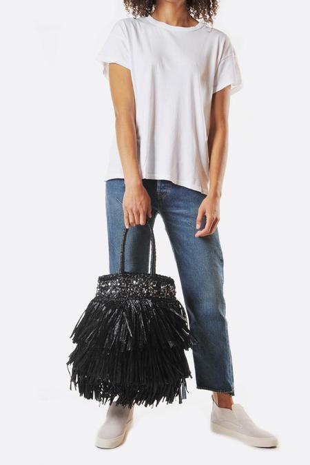 Lorenza Gandaglia Janis Long Fringe Bag with Sequins - Black