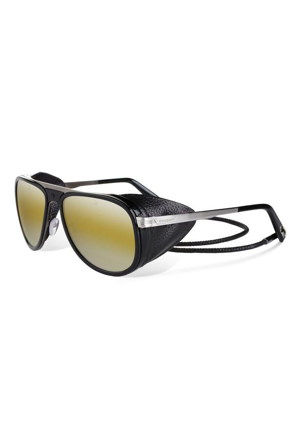 Men's Vuarnet Shiny Black Corded Leather Sunglasses