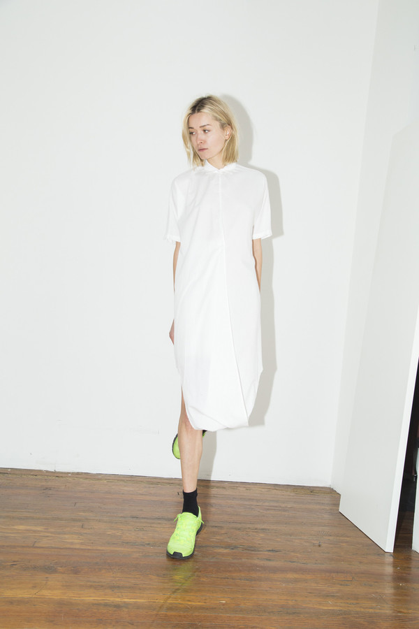 White Cotton Twist Dress