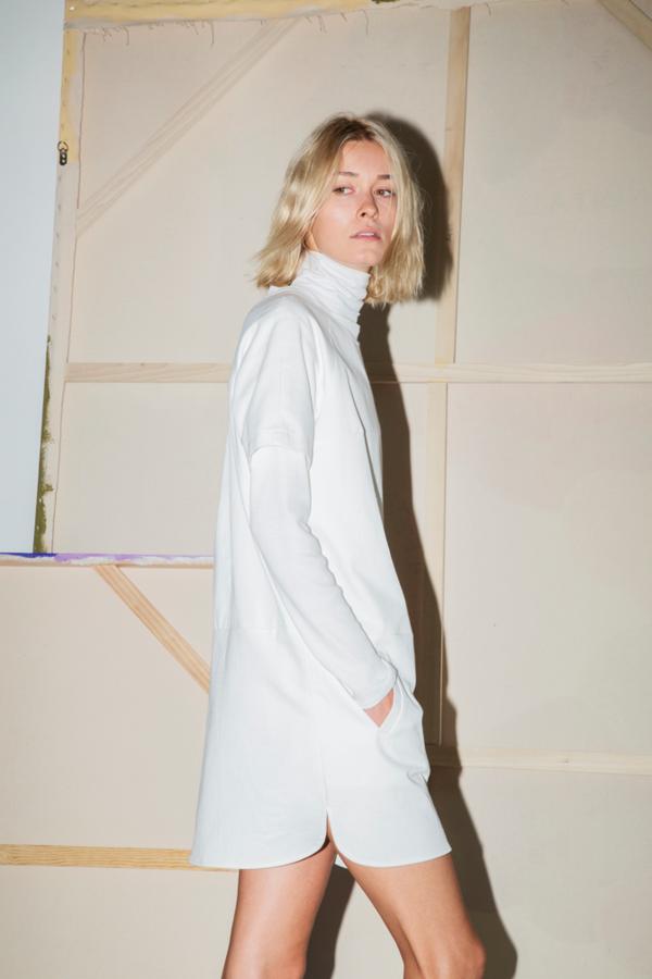 White Denim Raglan Dress