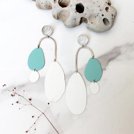 Laura Estrada Cascada Dos Earrings - Teal/White