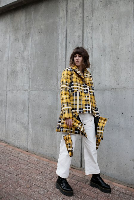 House of Sunny Quilted Puffer Jacket - Plaid