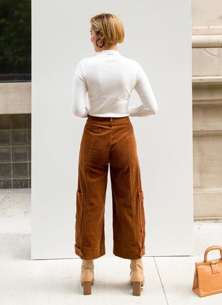 Line & Dot Jeska Corduroy Cropped Pants - BROWN