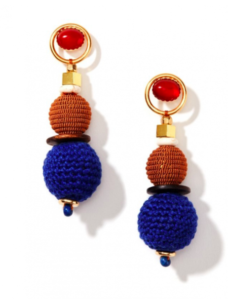 Dear Society Gemstone Earring - Navy/Taupe