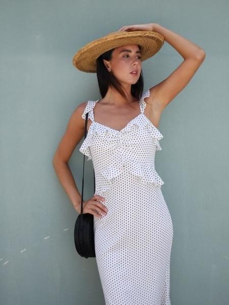 LUCY PARIS Polka Dot Ruffle Dress - WHITE