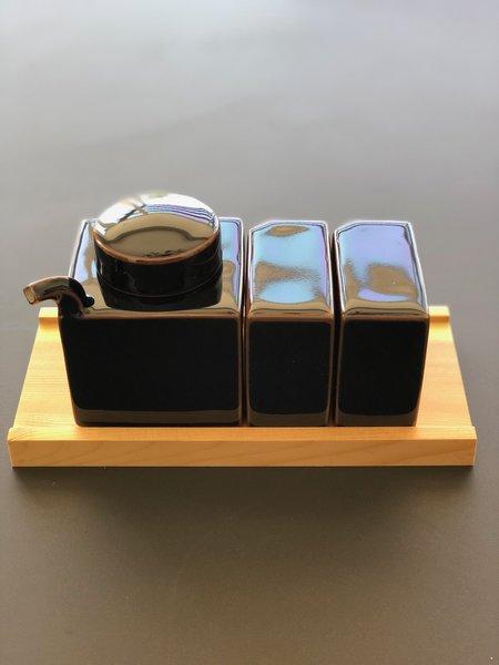 Tenmoku Condiment Set with Tray