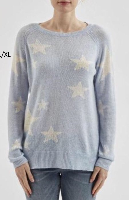 Brodie Cashmere Stars And Back Top - Blue Mist