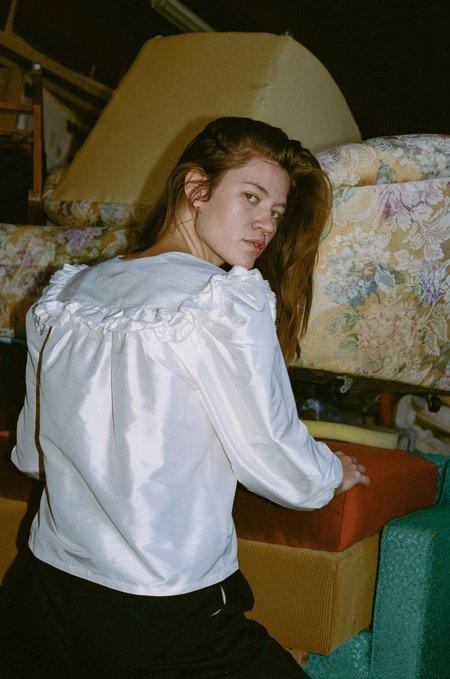 Chelsea Mak Ruffle Collar Blouse - White