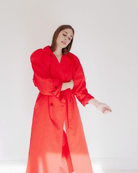 Kaleidos Vintage Trench Coat - Red