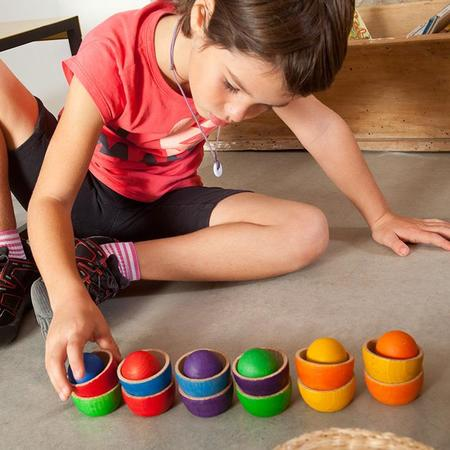 KIDS Grapat 18 Piece Set Wooden Bowls And Balls - Multicoloured