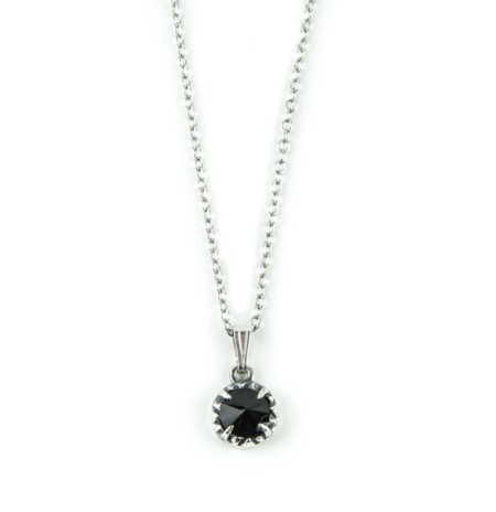 Angela Monaco Matrix Halo Necklace - Silver/Onyx
