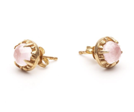 Angela Monaco Matrix Halo Studs - Gold/Rose Quartz