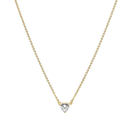 Angela Monaco Herkimer Trillion Pendant Necklace - Gold Vermeil