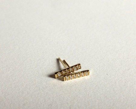 Form Fine Goods diamond bar stud earrings - 14k Yellow Gold