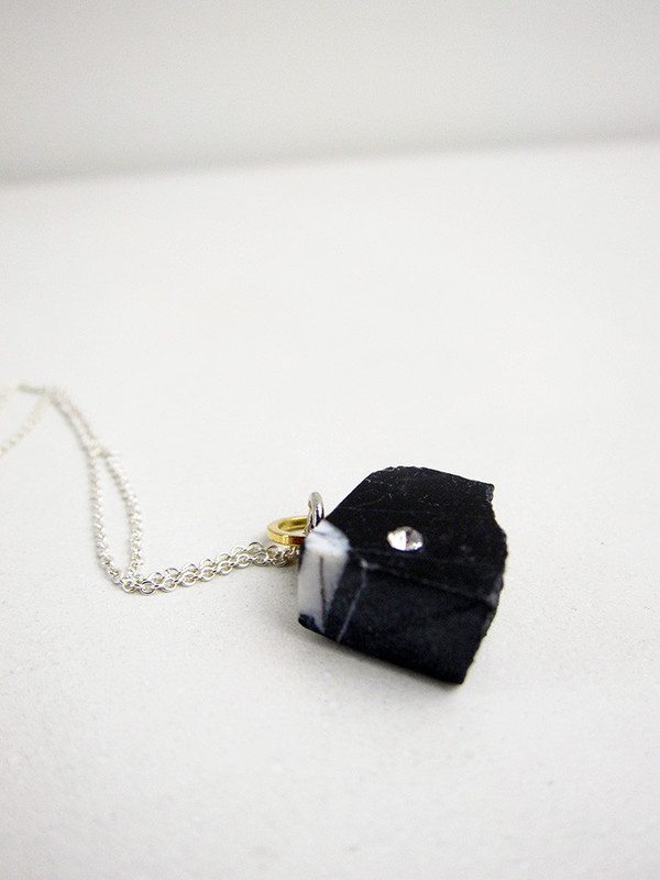 Tea Time Necklace, Black Marble