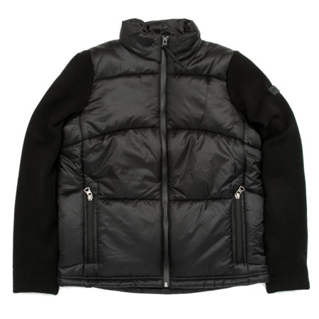 Unisex Aigle Barsain Mixed Fabric Quilted Jacket - Black