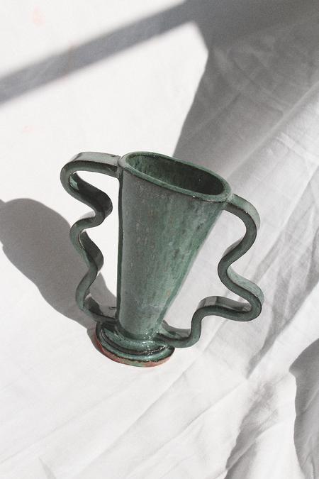 Morgan Peck Short Stretch Vase - Dark Water Green