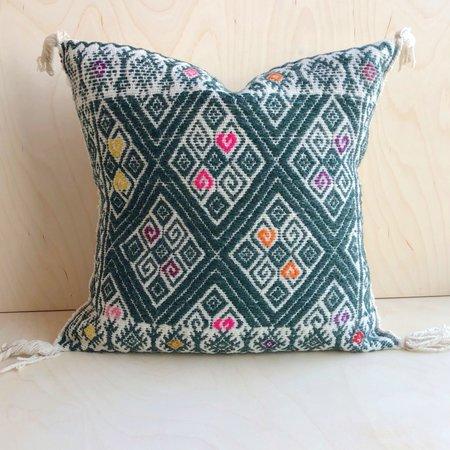 Kin+Kind Chamula Pillow - Forest Green