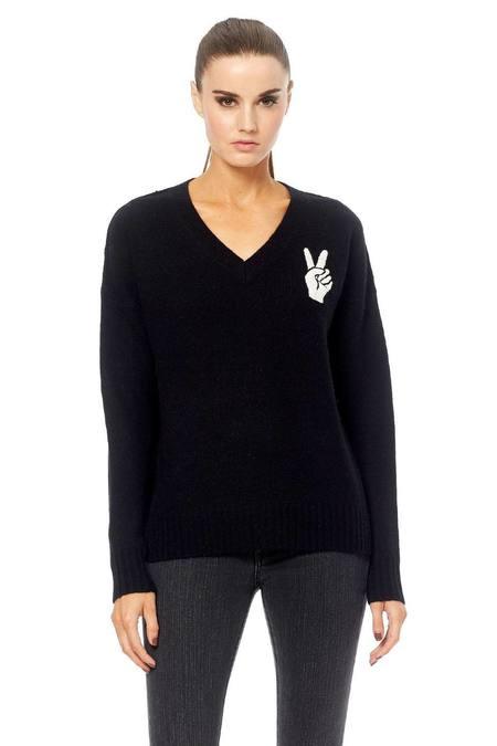 Skull Cashmere Lea V-Neck Sweater - Black/White