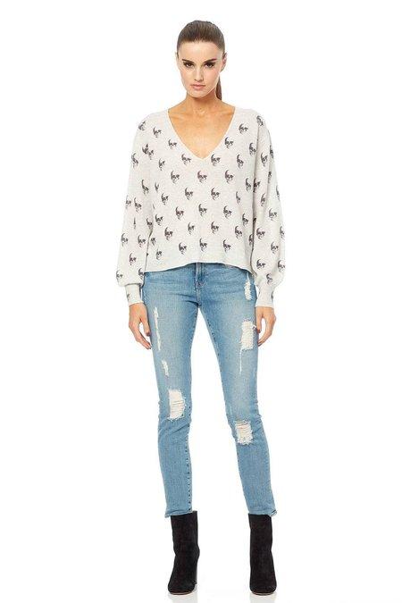Skull Cashmere Penny V-Neck Sweater - Light Heather Grey/Charcoal