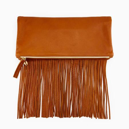 Clare V. Foldover Fringe Clutch Bag